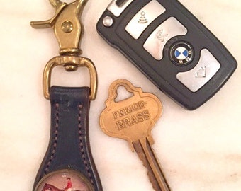 Leather Key Fob with Vintage Image