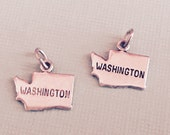 Washington State Charm Pendant with Loop, Antique Silver, Great for Charm Bracelets, Necklaces, Earrings