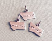 Montana State Charm Pendant with Loop, Antique Silver, Great for Charm Bracelets, Necklaces, Earrings