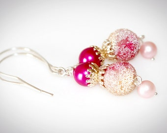 Frosted Pink Snowball Earrings With Vintage Beads. Upcycled Repurposed