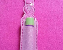 Breast Cancer Pink Ribbon Chapstick... Lip Balm Keychain...Great Size to store Flashdrive or chapstick..Ribbon color can be Changed