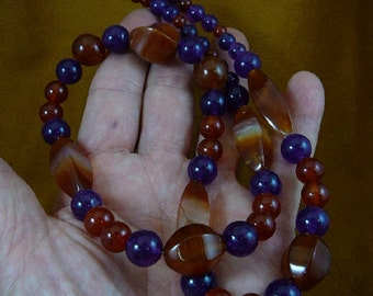 27 inch long faceted + turned orange red Carnelian + Purple Amethyst gemstone bead beaded Necklace jewelry V322-2