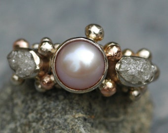 RESERVED- 14k White  and Rose Gold Ring with Rough Diamonds and Pearl- Ready to Ship
