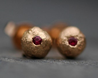 Rose Gold Drops with Rubies- Ready to Ship Post Earrings