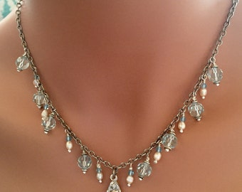 Silver Mermaid Charm Necklace with Pearls and Pale Blue Swarvowski Crystal