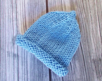 Preemie Pixie Hat, 3 to 5 pounds, Hand Knit Premature Size Baby Hospital Hat, Coming Home Baby Hat, Newborn Infant Baby Boy, Beanie Cap