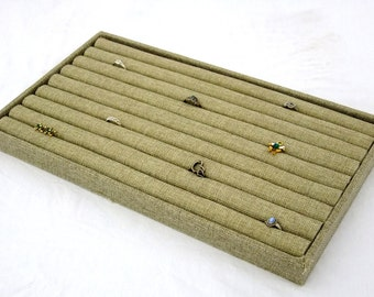 Burlap Covered  Ring/Cuffling Storage Tray With 8 Row Burlap Insert