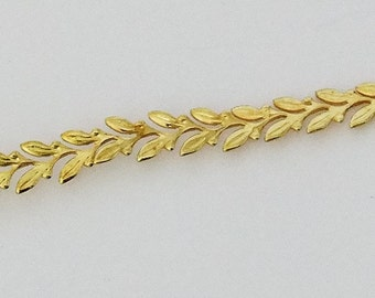 Gold Plated Gallery Wire Large Leaves 1 Foot Package 4.8mm Wide