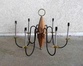 Vintage Mid Century 6 Arm Chandelier in Wood and Metal