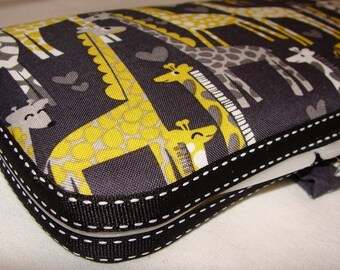 Designer Travel Wipes Case with Diaper Strap- Giraffe Love