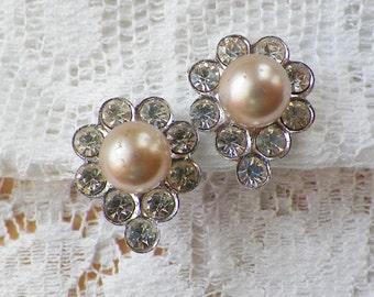 Vintage Faux Pearl and Rhinestone Screw Back Earrings from Japan, Pearls / Rhinestones, Bride / Bridal / Wedding, Silver Tone Metal