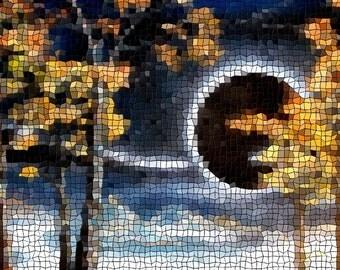 Zebra Aspens #6 (Mosaic Remix) - Print of Digital- Painting -  Abstract Painting- Landscape Painting by Mr Mizu Denver Colorado