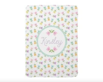 Flower Baby Blanket Personalized Blanket Custom Blanket Floral Swaddle Blanket Tulip Blanket Floral Nursery Blanket