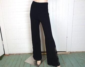 Black Sweater Pants- 1970s / 70s Crochet Lace Bell Bottoms- Small- Hippie / Boho / Festival