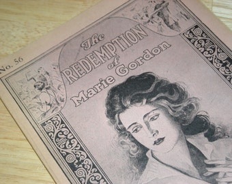 """Vintage 1926 Serial Booklet """"The Redemption of Marie Gordon - The Tragic Story of Wronged Womanhood"""" #56"""