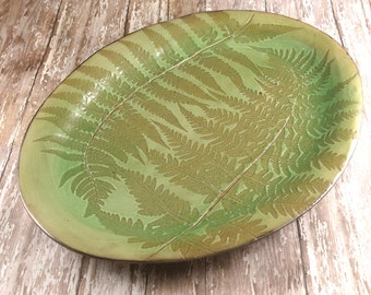 Ceramic Serving Platter - Pottery Platter - Green Ferns - Lace Pattern - 630