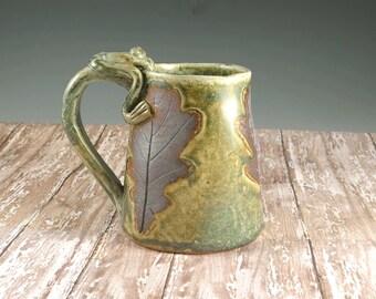 Handmade Large Pottery Mug - Tankard - Beer Stein - Green Oak Leaves - 20 ounces - 719