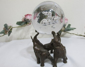 Clear Glass Paper Weight and Brass Elephant Holder
