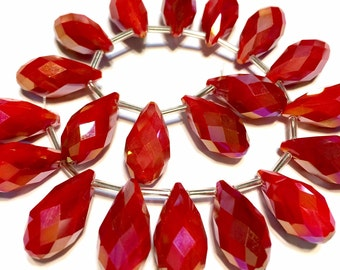 Lipstick RED opaque Faceted Crystal drop briolettes top drilled 17mm