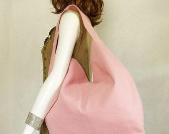 Pink Handbag, large pink shoulder bag, Women's Pink Slouch Hobo bag, Bubble Gum Pink Twill Handbag