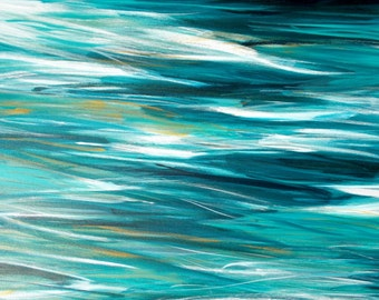 Ocean Abstract Acrylic Painting, 20x30 Canvas Wall Art, Contemporary Beach Home Decor, teal turquoise gold white, water reflections