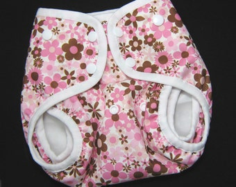 Gussetted One Size  Diaper Cover -  Pink & Brown PUL Front Snap Gussetted Cloth Diaper Cover for Baby Girl Pul  Nappy Cover - SALE