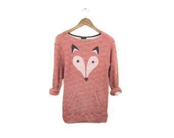 Geo Fox Tunic Sweater - French Terry Scoop Neck Pullover Sweatshirt in Heather Marl Red Clay and Black - Women's Size M-3XL