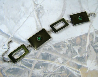 Dark Green Enamel Rhinestone Bracelet 1980s Beauty Gorgeous Green - PLUS a Bonus!