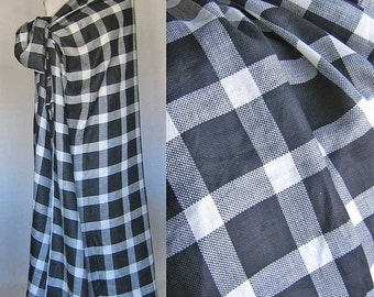 Linen Fabric Black and White Plaid