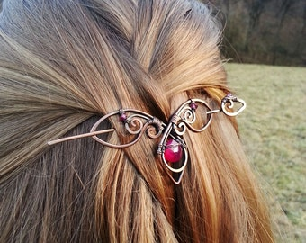 Metal hair slide Valentine gift for her Copper hair pin Rustic copper hair barrette Shawl pin Gift for Women gift Women accessories
