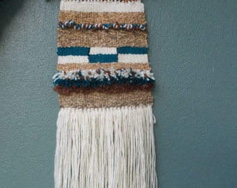 ON SALE, Woven wall hanging,southwestern tapestry,teal brown and cream tapestry, wall art, textile art , fiber art, weaving