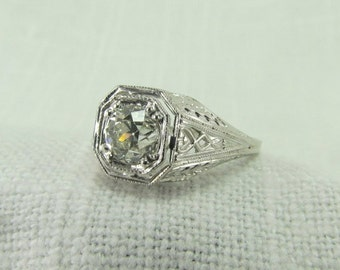 On Sale! Appraisal Value: 6,325.00. Circa 1930 18KT White Gold Ring with 0.78CT Old European Cut Diamond