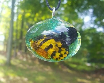 Real Butterfly Necklace Nature Pendant Bohemian Jewelry Glitter Green Resin Cruelty Free Statement Piece Insect Wings