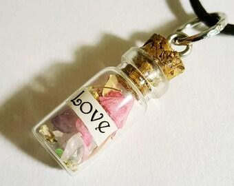 Love Affirmation Bottle Necklace Real Flowers Stones Pink Rose Quartz Purple Amethyst  Script Glass Glitter Cork Magic Bohemian Jewelry