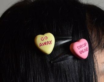 Gothic Lolita Candy Heart Pendant  barette set- hair clip Rockabilly Psychobilly
