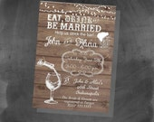 Digital Stock the Bar Eat, Drink & Be Married Bridal Shower Invitation Personalized Printable