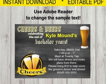 Editable Digital Cheers & Beers Bachelor Party Invitation INSTANT DOWNLOAD