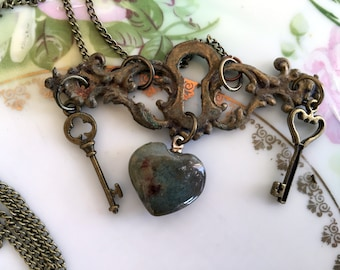 """Antique Real brass Key hole Necklace Puffy Agate Heart And Keys """"Key to my Heart"""""""