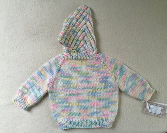 Baby Sweater Hand Knit Hooded Zip Back Hoodie 0 - 6 Months Acrylic Pastel Print Free US Shipping