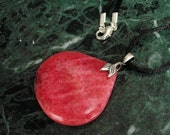 Argentine Rhodochrosite Teardrop Pendant Necklace with Antiqued Silver-Plated Brass Twin Leaf Bail on Black Satin Cord