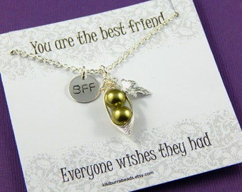 peas in a pod, two peas in a pod, Peapod Necklace, Silver Friendship Necklace,  Best Friend Gift, sisters necklace hand stamped