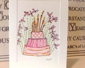 "Pink Pink Pink Cake Original Watercolor Art  Panel Card 4.5"" x 6.25"" Offwhite Cream Card & Envelope"
