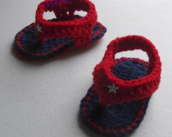 Flip Flop Sandals 0-3 month baby boy or girl - blue and red - ready to ship