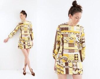 FALL SALE vintage 60s yellow MOD print Twiggy long sleeve Mini dress S
