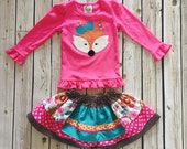 Girl's Fall Fox Skirt and Shirt Set-PIPER the Fox- From the Fall 2016 Collection by Melon Monkeys