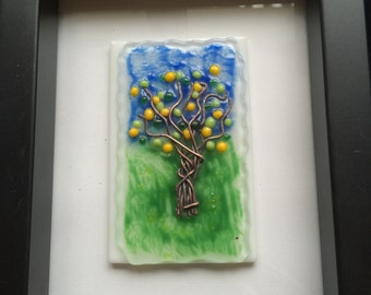 Original art glass with copper detail framed