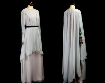 Original Vintage 1970s Dove Grey Chiffon Sequinned Jean Varon Maxi Dress - Small - FREE SHIPPING WORLDWIDE