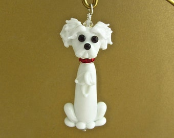 Bichon Frise with Puppy Cut - Lampwork Glass Dog Pendant SRA