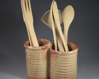 Utensil Crock Duo in Shino Glaze