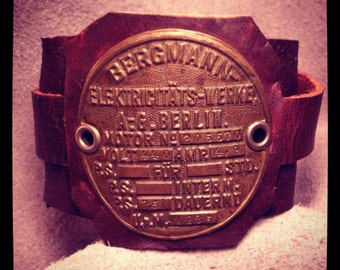 1920's Era German Cable Car Generator Plaque on Handmade Leather Cuff